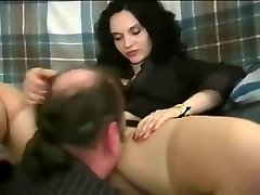 A woman making guy slurp her pretty poon and handling him like shit