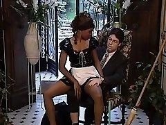Stunning ebony maid gets her nice tight twat sated