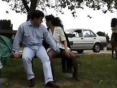 Vintage clip of Babes lovin' flashing public sex