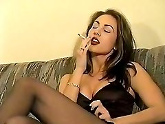 Retro smoking brunette