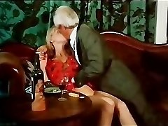 Antique smooching and smoking scene
