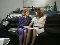 Retro Office Lesbians Pussy and Culo Slurping Strap-On