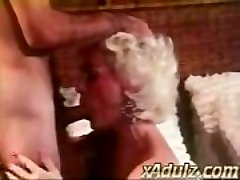 Retro Grey Haired Granny Gives Sensual Deepthroat and Knocker Job