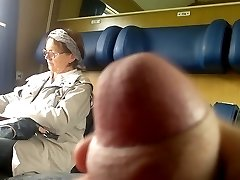 Train Cock flash to Mature - with Cum