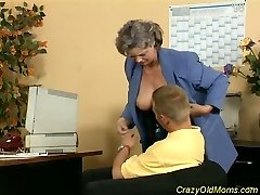 Crazy old mom gets spunk-pump fucked and office blowjob fuck-a-thon