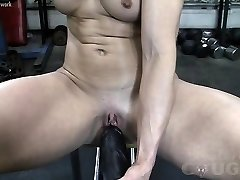 Beefy Mature Claire Fucks Immense Dildo In The Gym