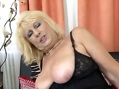 Gorgeous old mom lure young horny son