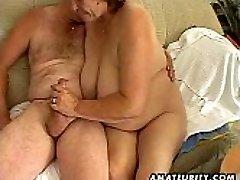 Chubby mature amateur wife deepthroats and fucks