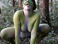 Stark naked Japanese monstrous frog gal in the swamp HD