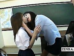 Subtitled Chinese schoolgirls instructor kiss interviews