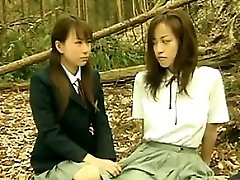 Mischievous Asian Lesbians Outside In The Woods
