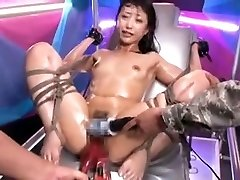 Corded Asian slut gets stimulated by toys to ejaculation