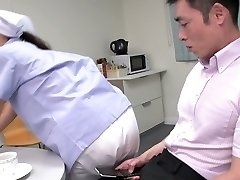 Cute Japanese maid demonstrates her big tits while gargling two dicks (FMM)