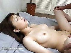 Asian guy licking super wooly pussy
