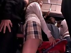 Shy College Girl caressed and used in a bus
