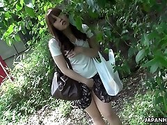 Stunning and curious red-haired Asian teen watches sex on the street and masturbates