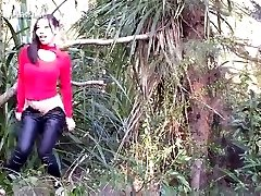 chinese woman making loving outdoor