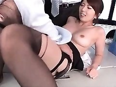 Jap hot school teacher boob blown and cooter tickled at work