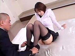 Horny Japanese girl Misa Nishida in Exotic Cunnilingus, Stockings JAV clamp