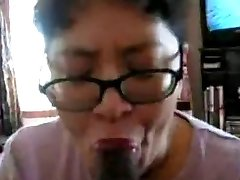 Asian Cougar suck black cock many times