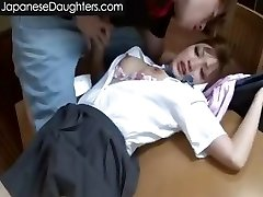 Cute blonde asian teen bum-fucked hard