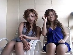 2 slutty Japanese chicks Yurina Shiho and Hibiki Mahiru gives a brief interview before fucking one another