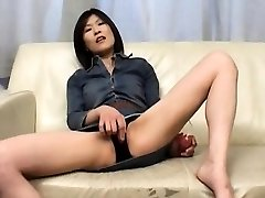 Kasumi Ito arouses pussy with vibro and sucks trouser snake and
