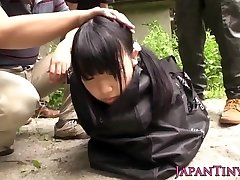 Weird japanese group play with spraying teen