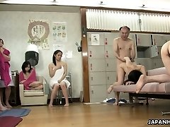 Japanese bitches are getting fucked in a red-hot spa