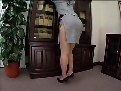 asian secretary stocking