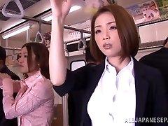 Horny Asian model gets stiff stiffy in public