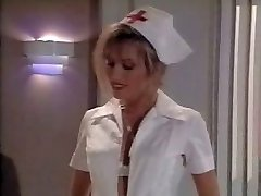 Vintage nurse scene. Pops on her feet