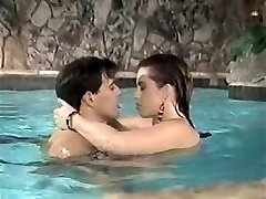 Salacious brown-haired wench gives extreme deep throat in pool
