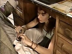 Slutty secretary gives her boss a suck off under the table