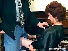 Nasty Cougar maid sucks on her bosses part5