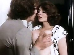 Sexy curly brunette old school sex addict gets her pussy banged from behind