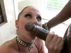 white slut sucks and fucks Big Black Cock
