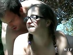 Chubby french teen sodomized in doggy style outdoor