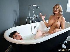 Huge knockers Milfs enjoying threesome sex in the bathtub