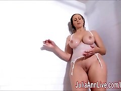 Gorgeous Milf Julia Ann Lathers Her Big Tits in Shower!