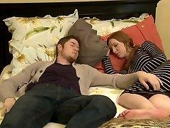 Nasty mature Erica Lauren tears up a scorching guy next to his sleeping Girlfriend