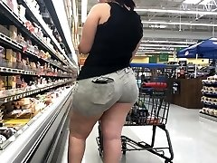 Wide Butt Plus-size Latina with Ass Eating Cut-offs Part 1