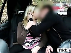 Blonde Chubby woman squirts while her pussy gets pummeled by a taxi driver on the backseat of the car