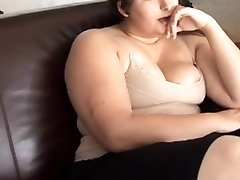 Beautiful big-chested brunette BBW has a soaking wet vag