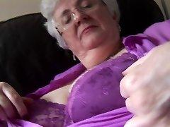Grannie with massive knockers upskirt no panties tease