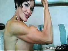 Muscular Mature Gal Flexing