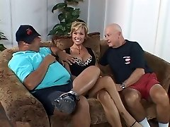 Busty fuckslut wife is fucked by dude in front of her lazy hubby