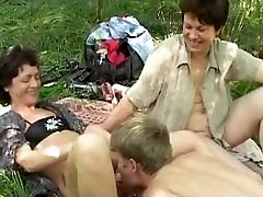 Naughty russian picnic with enormous b(.)(.)bs mature