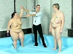Exciting lesbo frolicking and plowing after BBW wrestling match