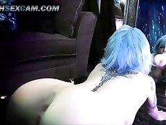 Zrcadlo, Dildo, Kurva, Double Penetrace Modré Vlasy, Tetování, Emo Cam Děvka Punk HD